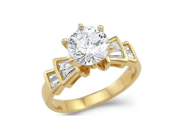Solid 14k Yellow Gold Solitaire CZ Cubic Zirconia Engagement Ring New Unique 2.0 ct