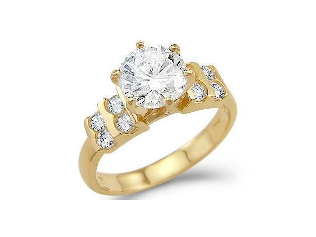 Solid 14k Yellow Gold Solitaire Round CZ Cubic Zirconia Engagement Ring Band 2.0 ct