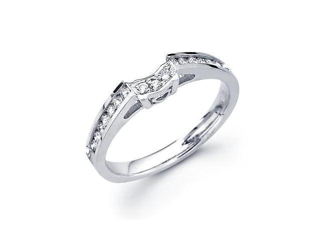 0.27ct Diamond 18k White Gold Wedding Ring Band Matching F (G-H Color, SI2 Clarity)