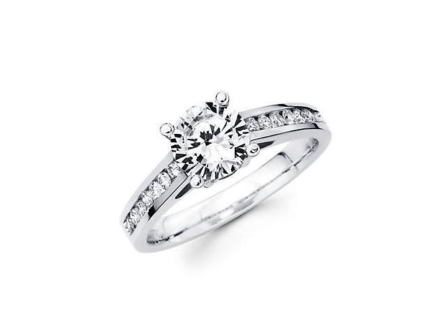 1/4 ct Diamond 18k White Gold Engagement Ring Semi Mounting F -1ct Center Stone Not Included