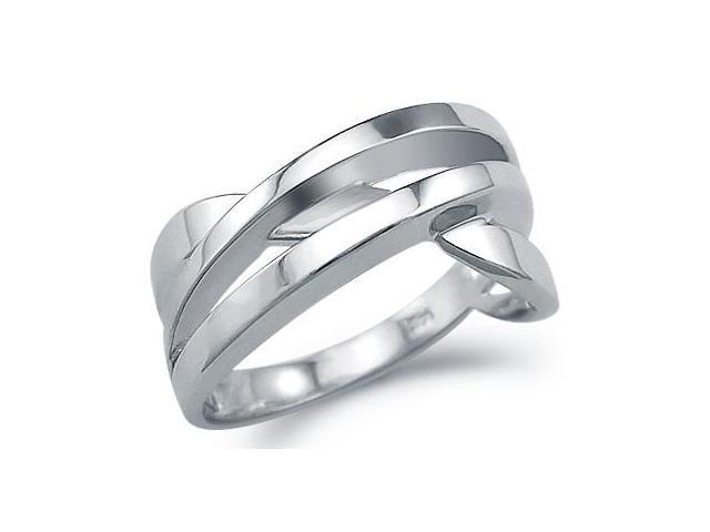 Solid 14k White Gold Ladies Unique Twist Fashion Ring