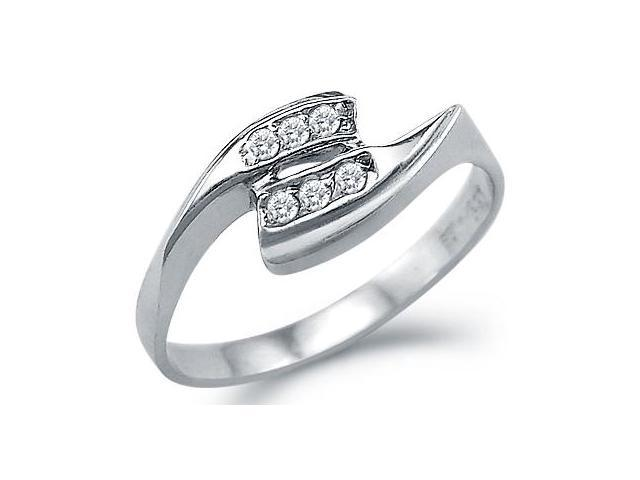 Solid 14k White Gold Ladies New Wedding Fashion CZ Cubic Zirconia Band Ring 0.25 ct