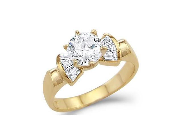 Solid 14k Yellow Gold Solitaire CZ Cubic Zirconia Engagement Ring Shiny New 1.25 ct