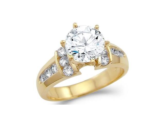 Solid 14k Yellow Gold Round Solitaire CZ Cubic Zirconia Engagement Ring New 2.0 ct
