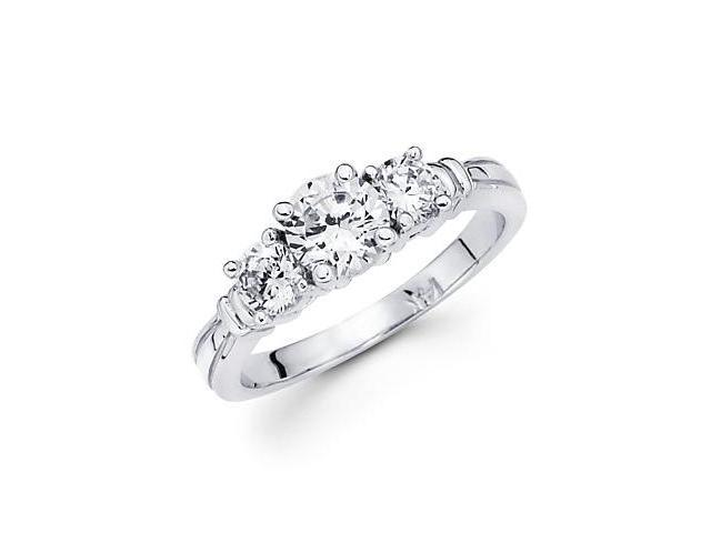 14k White Gold Three Round Diamond Ring Setting 1.0 ct (G-H, SI2) - 1 Ct Center Stone Not Included