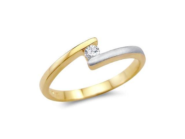 Solid 14k Two Tone Gold Solitaire Engagement Wedding CZ Cubic Zirconia Ring Round Cut 0.15 ct