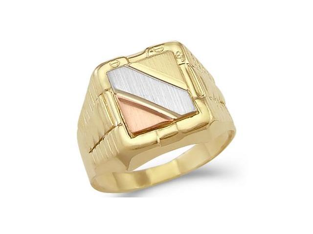 14k Tri-Color Gold Mens Large Watch Band Fashion Ring