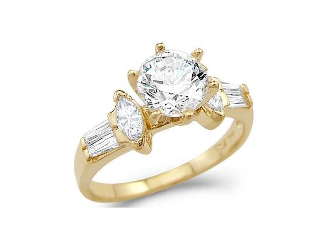 Solid 14k Yellow Gold Solitaire CZ Cubic Zirconia Engagement Ring 1.50 ct.