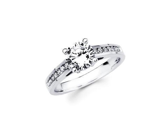 1/4 ct Diamond 18k White Gold Engagement Ring Semi Mounting G - 1ct Round Center Stone Not Included