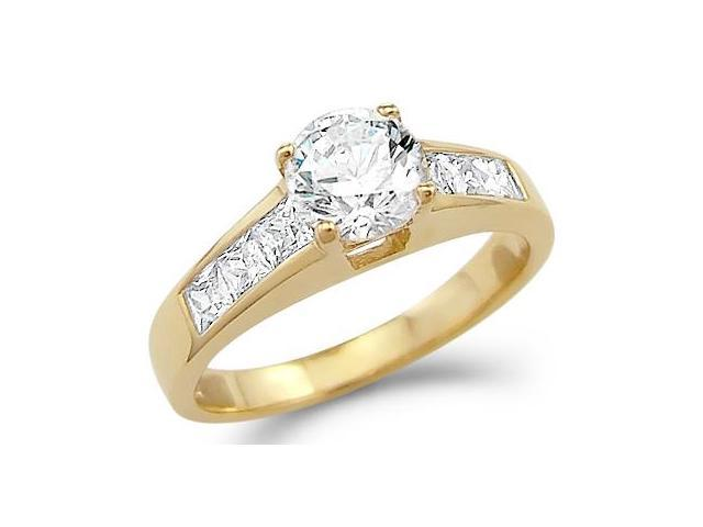 Solid 14k Yellow Gold Round and Princess CZ Cubic Zirconia Engagement Ring 1.5 ct