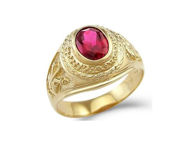 New Solid 14k Yellow Gold Mens Large Fashion Ruby Ring