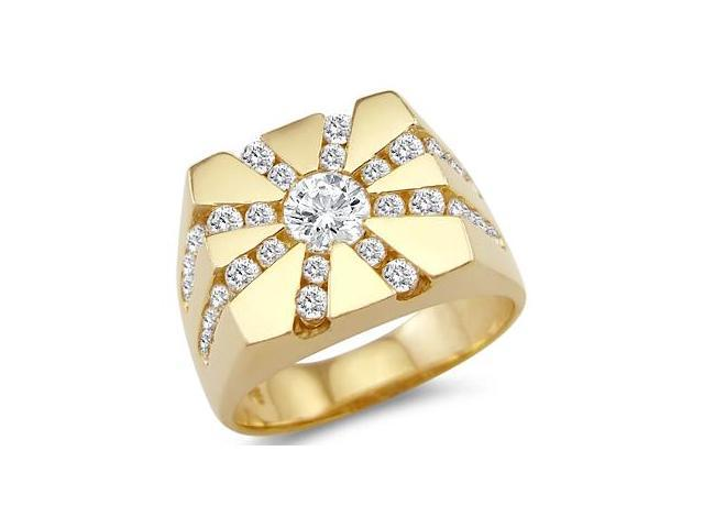 New Solid 14k Yellow Gold Large Mens Fashion CZ Cubic Zirconia Ring