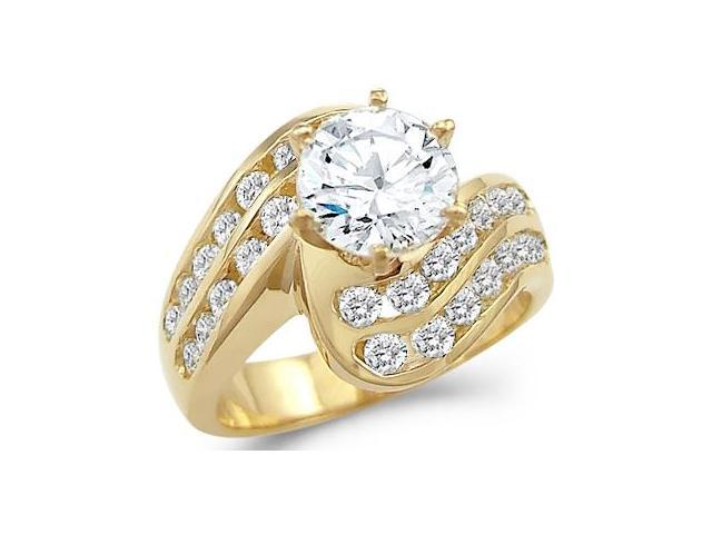Solid 14k Yellow Gold Large Round CZ Cubic Zirconia Engagement Ring Unique 3.0 ct