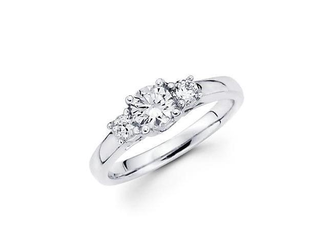 14k White Gold Three 3 Stone Diamond Semi Mount Ring 1/2 ct - 1.5ct Center Stone Not Included