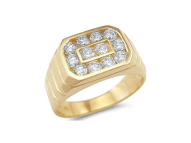 New Solid 14k Yellow Gold Mens Fashion Round CZ Cubic Zirconia Ring