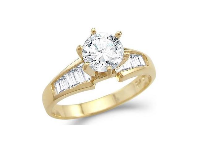 Solid 14k Yellow Gold Round and Baguette CZ Cubic Zirconia Engagement Ring 1.5 ct
