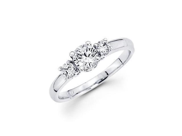 14k White Gold Round 3 Diamond Semi Mount Ring 1/5 ct (G-H, SI2) - 1/4ct Center Stone Not Included