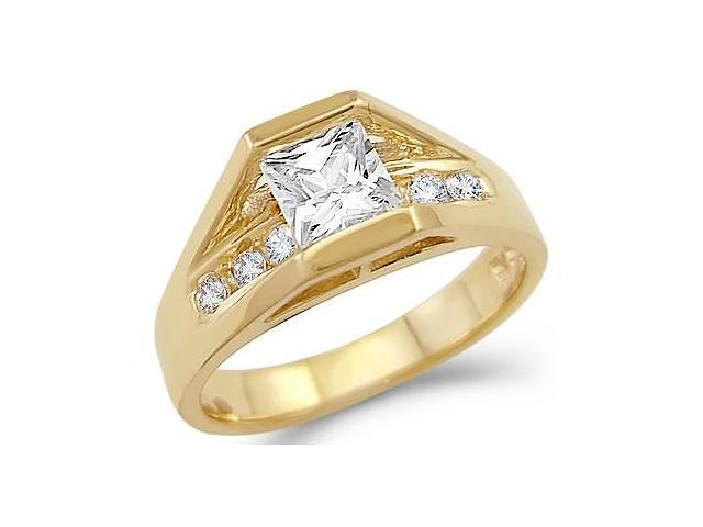 Solid 14k Yellow Gold Solitaire CZ Cubic Zirconia Engagement Ring Popular 1.5 ct