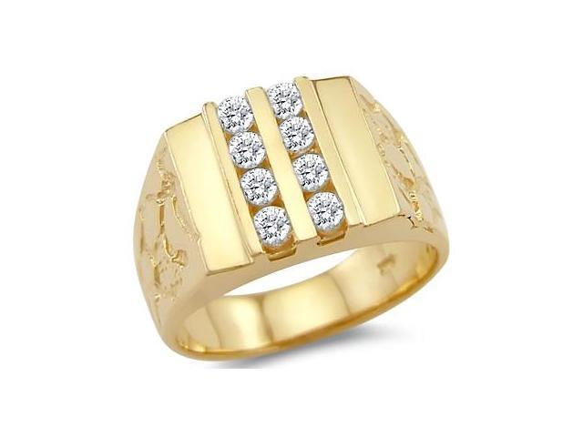 Solid 14k Yellow Gold Heavy Mens Fashion Nugget CZ Cubic Zirconia Ring