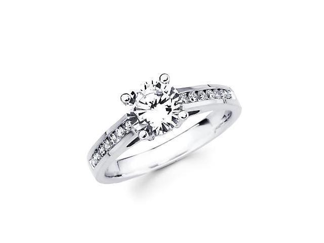 1/2 ct Diamond 18k White Gold Engagement Wedding Ring Band Set - 1ct Round Center Stone Not Included
