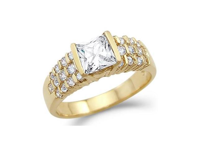 Solid 14k Yellow Gold CZ Cubic Zirconia Princess Cut Engagement Ring Band 1.25 ct