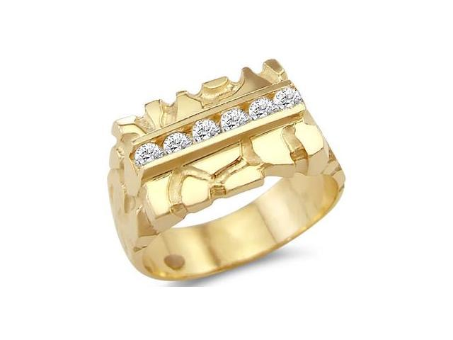 New Solid 14k Yellow Gold Mens Fashion Nugget CZ Cubic Zirconia Ring