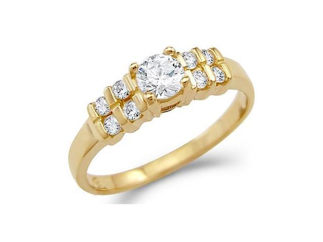 Solid 14k Yellow Gold Ladies New CZ Cubic Zirconia Engagement Ring Round Cut 1.0 ct