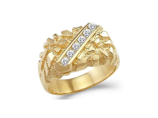 Solid 14k Yellow Gold Mens Heavy Fashion Nugget CZ Cubic Zirconia Ring