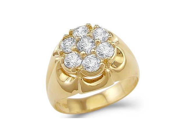 Solid 14k Yellow Gold Mens Large Fashion CZ Cubic Zirconia Ring New