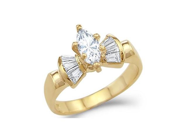 Solid 14k Yellow Gold Solitaire Marquise CZ Cubic Zirconia Engagement Ring 1.0 ct
