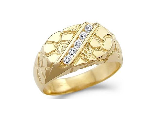 Solid 14k Yellow Gold Mens Fashion Nugget CZ Cubic Zirconia Ring