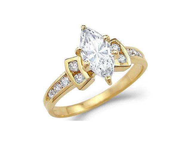 Solid 14k Yellow Gold Large CZ Cubic Zirconia Marquise Engagement Ring New 1.5 ct
