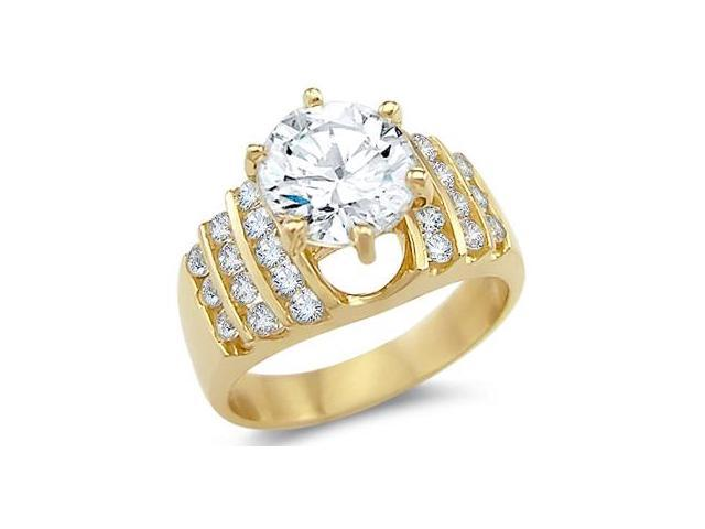 Solid 14k Yellow Gold Solitaire CZ Cubic Zirconia Large Engagement Ring Big Round Cut 3.0 ct