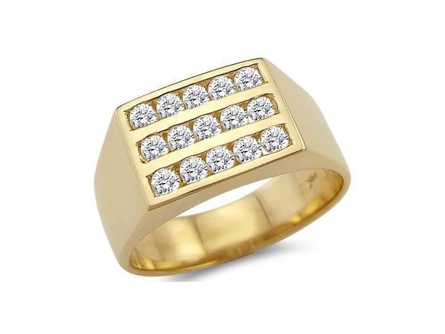 Solid 14k Yellow Gold Mens Wedding Three Row CZ Cubic Zirconia Ring Band 0.75 ct