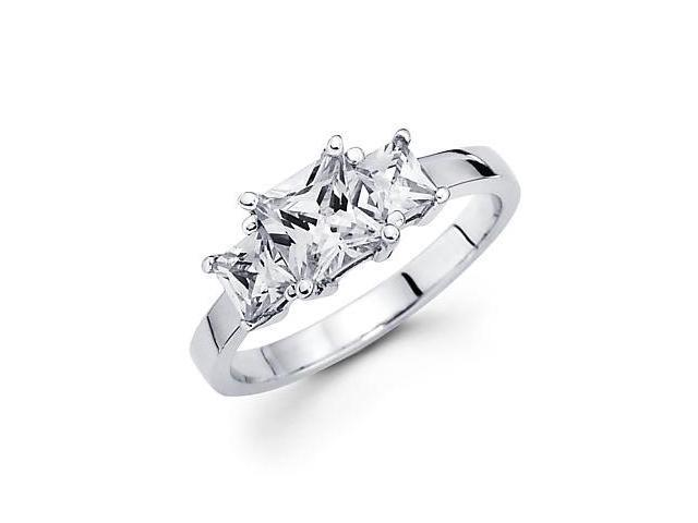 14k White Gold Three 3 Diamond Princess Semi Mount 1/2 ct Ring - 1ct Center Stone Not Included