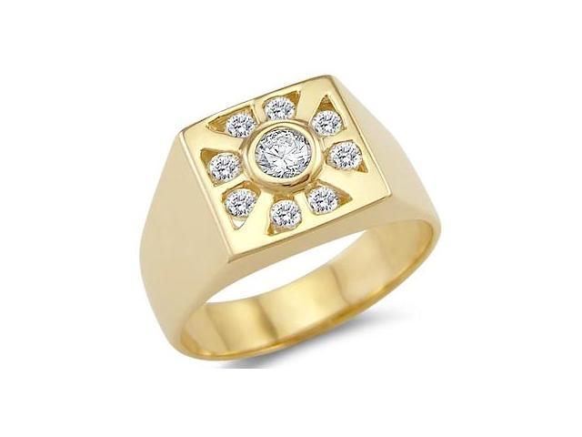 New Solid 14k Yellow Gold Mens Wedding Band CZ Cubic Zirconia Ring 0.75 ct