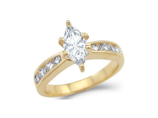 Solid 14k Yellow Gold Solitaire Marquise CZ Cubic Zirconia Engagement Ring . 1.25 ct
