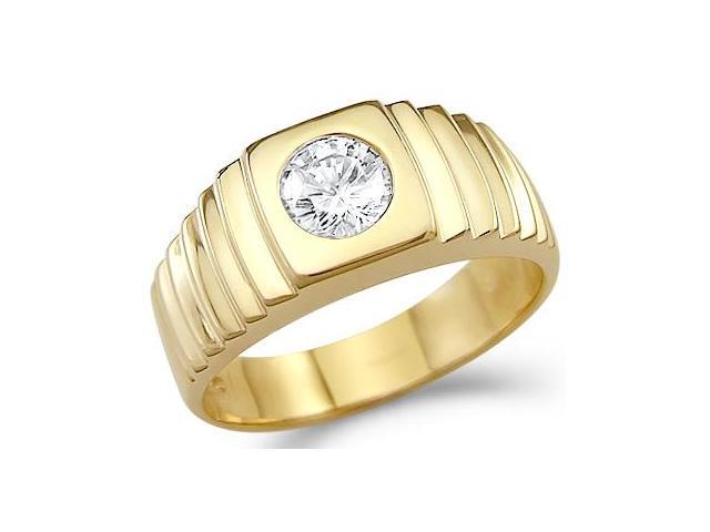 Solid 14k Yellow Gold Mens Solitaire CZ Cubic Zirconia Wedding Band Ring New