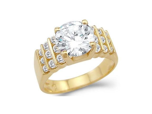 Solid 14k Yellow Gold Large Solitaire CZ Cubic Zirconia Engagement Ring 3 ct Round Cut