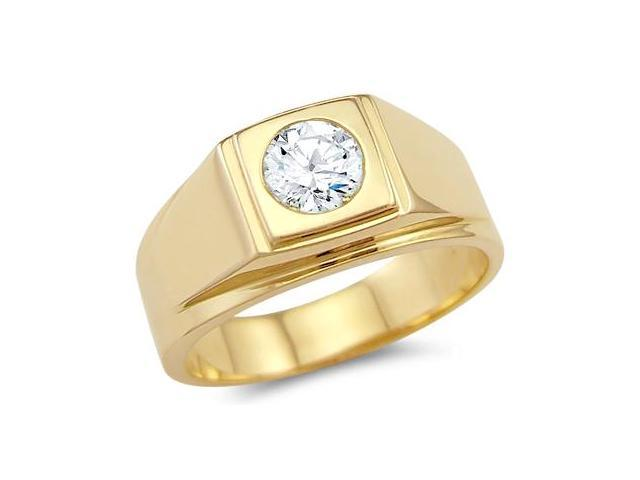 Solid 14k Yellow Gold Mens Solitaire CZ Cubic Zirconia Wedding Band Ring 0.75 ct