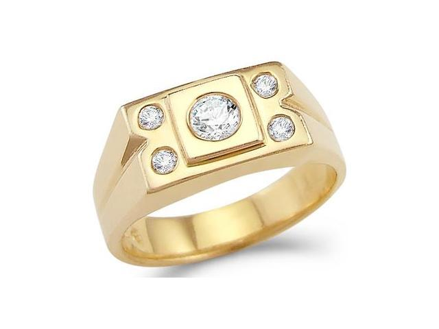 Solid 14k Yellow Gold Mens Large CZ Cubic Zirconia Wedding Band Fashion Ring 0.5 ct