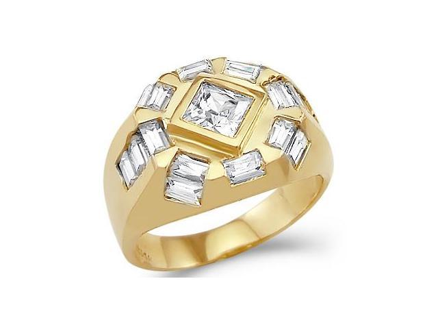 Solid 14k Yellow Gold Mens Large Huge Princess Cut CZ Cubic Zirconia Ring
