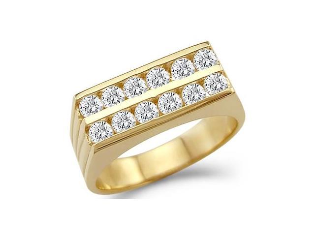 Solid 14k Yellow Gold Mens Wedding Two Row CZ Cubic Zirconia Band Ring 0.75 ct