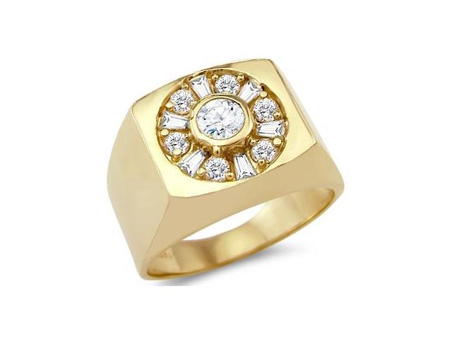 Solid 14k Yellow Gold Mens Large Solitaire Round Cut CZ Cubic Zirconia Ring