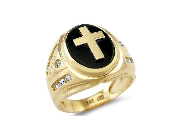 New Solid 14k Yellow Gold Mens Large Cross Onyx CZ Cubic Zirconia Ring
