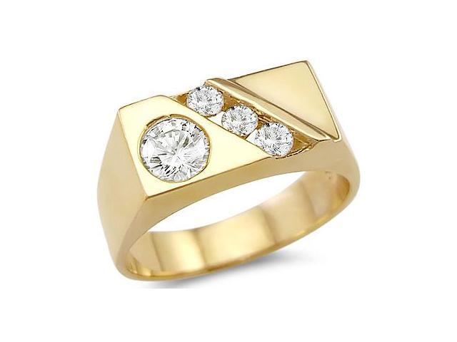 Solid 14k Yellow Gold Mens Fashion CZ Cubic Zirconia Wedding Band Ring 1.25 ct
