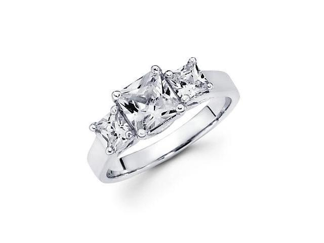 14k White Gold Princess Diamond 3 Stone Semi Mount 1 ct Ring - 1.25ct Center Stone Not Included
