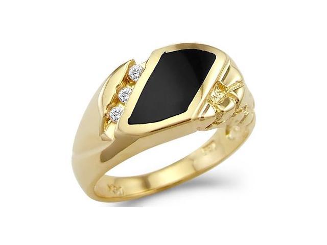 Solid 14k Yellow Gold Mens Onyx Heavy Nugget CZ Cubic Zirconia Ring