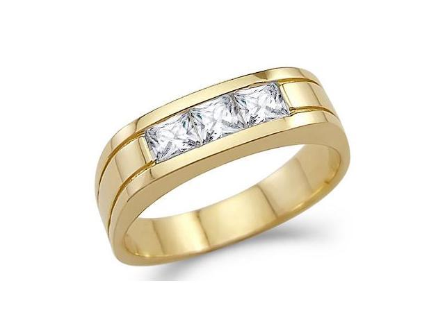 Solid 14k Yellow Gold Mens Three Stone CZ Cubic Zirconia Wedding Band Ring 1.0 ct