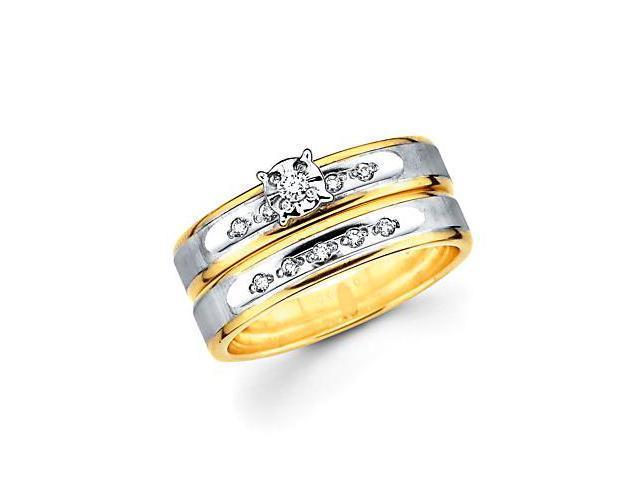 .13ct Diamond 14k Two Tone Gold Engagement Wedding 2 Ring Set (H-I Color, I1 Clarity)